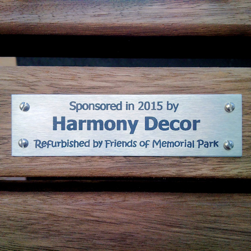 Harmony Decor sponsored bench