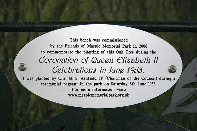 The new plaque explaining the bench