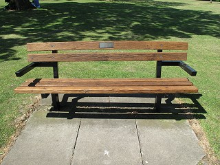 Bench dedicated to Pamela Holloway after